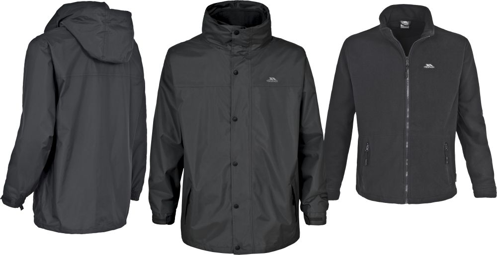 Mens 3 in 1 Trespass Waterproof Jacket with Detachable Fleece ...